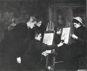 J Houssay, Un Atelier de peinture, c1895