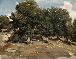 Camille Corot, Fontainebleau Oak Trees at Bas-Bréau, c1832