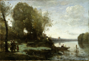 Camille Corot River with a Distant Tower 1865