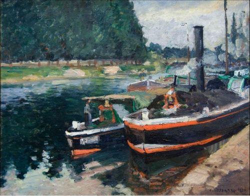 Camille Pissarro,  Barges on Pontoise, 1872