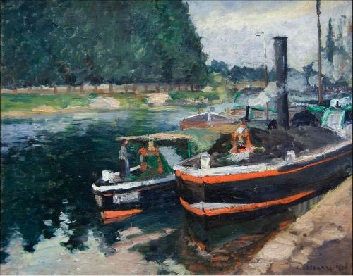 Camille Pissarro,  Barges on Pontoise, 1872