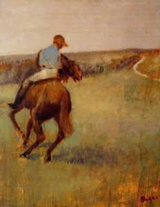 Edgar Degas, Jockey in Blue on a Chestnut Horse