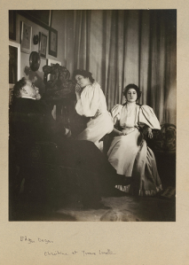 Edgar Degas, photograph, Self portrait with Christine and Yvonne Lerolle, c1895 - 96