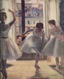 Edgar Degas, Three dancers in a practice room, 1873
