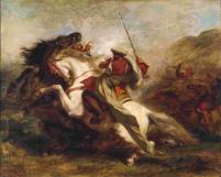 Eugéne Delacroix, Collision of Moorish Horseman, 1844