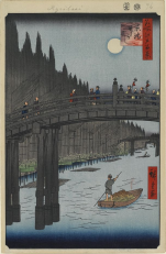 Hiroshige, Bamboo Yards, Kyōbashi Bridge c. 1857–58