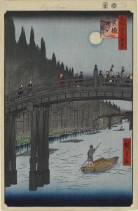 Hiroshige, Bamboo Yards, Kyōbashi Bridge c.1857–58