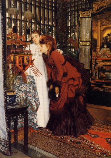 James Tissot, Young Ladies looking at Japanese Objects, 1869