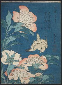 Katsushika Hokusai, Peonies and Canary (Shakuyaku, kanaari) c 1834