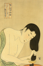 Kitagawa Utamaro. Bijin Combing Hair, 1801