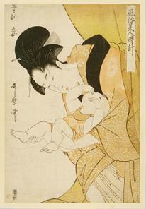 Utamaro, Midnight, The Hours of the Rat, Mother and Sleepy Child, 1790