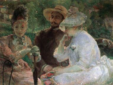 Marie Bracquemond, On the Terrace at Sévres with Fantin Latour, 1880