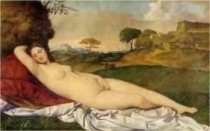 Giorgione , Sleeping Venus , c. 1510, also known as the Dresden Venus