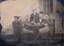 1887 Melanotype showing Emile Bernard, 2nd left, Vincent van Gogh, 3rd left, André Antione, standing at centre and Paul Gauguin, far right.
