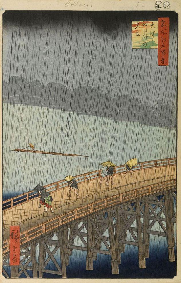 Hiroshige, Sudden Shower Over Shin-Ohashi Bridge and Atake, 1857