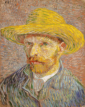 Van Gogh, Self Portrait in a Straw Hat, 1887