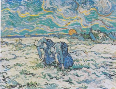Van Gogh, Two Peasant Women Digging in a Snow-Covered Field at Sunset, 1890