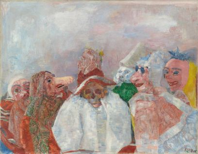 James Ensor, Masks Mocking Death (Masks Confronting Death), 1888