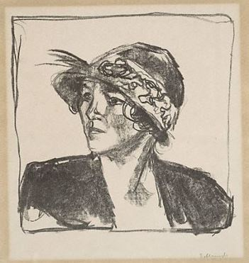 Edvard Munch, Portrait Bust of a Young Woman, 1920 (lithograph)