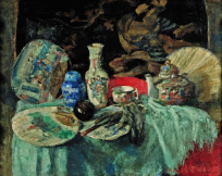 James Ensor, Chinese Porcelain with Fans, 1880