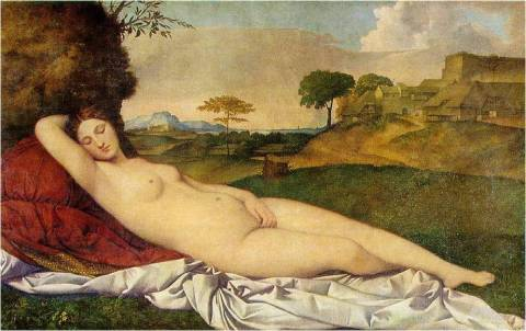 Giorgione , Sleeping Venus , c. 1510, also known as the Dresden Venus