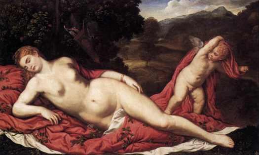 Paris Bordone, Sleeping Venus with Cupid, 1538