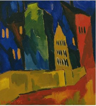 Karl Schmidt, Rottluff Houses at Night, 1912