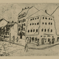 Kirchner, The Blue House in the Potholder District, 1909, Etching