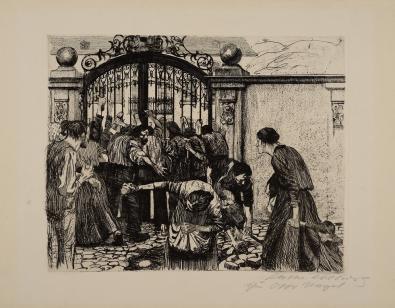 Kathe Kollowitz, Revolt By the Gates of a Park, 1897