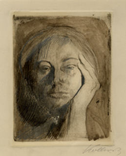 Kathe Kollowitz, Self Portrait with hand against cheek, 1906