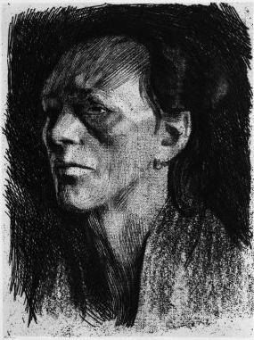 Kathe Kollowitz, Working Woman with Earing, 1910