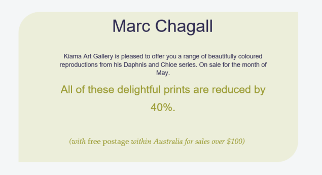 marc chagall sale items