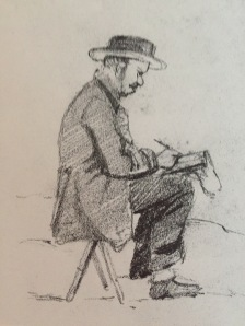 Drawing of Monet, presumed to be by Boudin