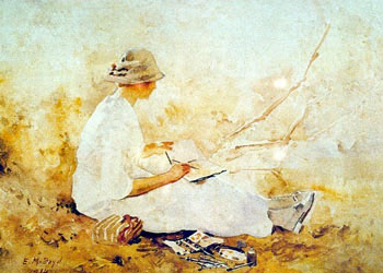 Emma Minnie Boyd, Doris Boyd sketching on the Yarra River, 1914