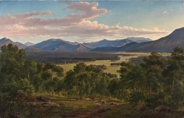 Eugène von Guérard, Spring in the Valley of the Mitta Mitta with the Bogong Ranges, 1866