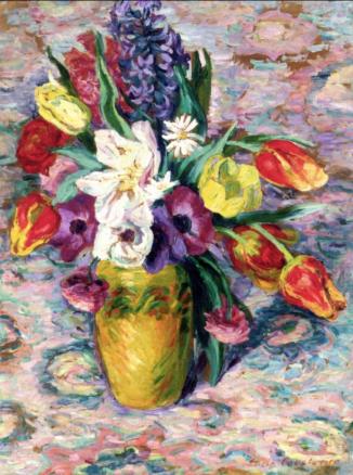 Lucie Cousturier, Vase de fleurs et fruits
